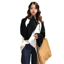 Women Simple Autumn Warm Long Sleeve Sweater Cute Cartoon Letter Print Casual Loose Round Collar Sweater retro style short sleeve round collar loose floral print dress for women