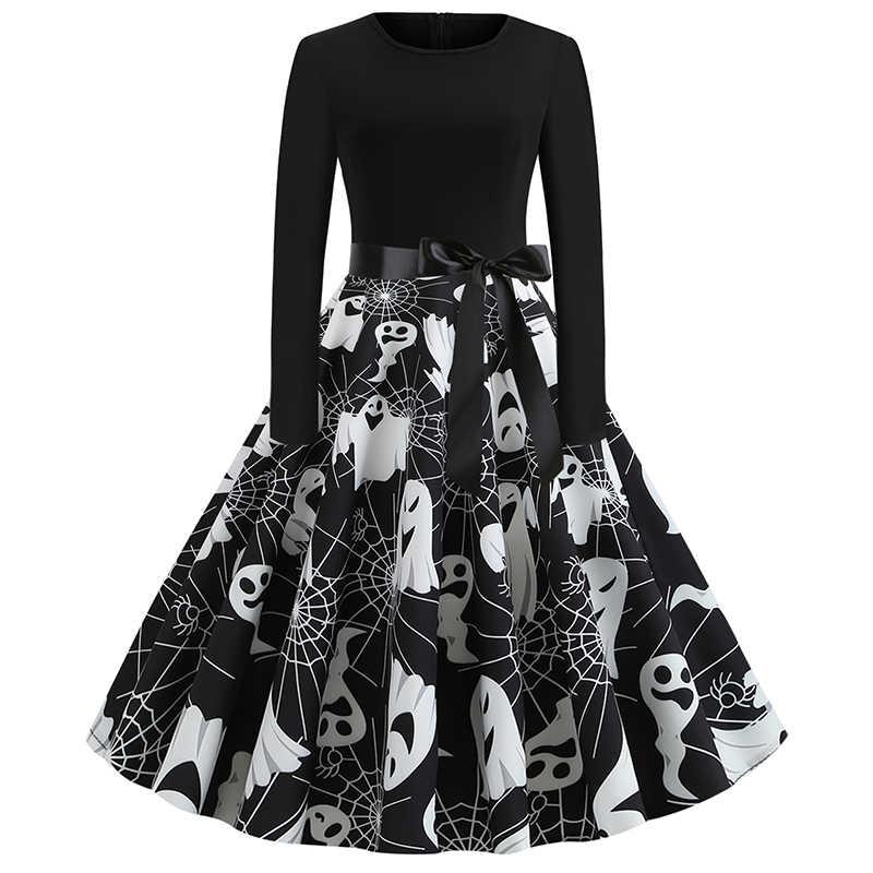 ขายฮาโลวีนใหม่ Skull ฟักทองพิมพ์พิมพ์คอยาวแขนยาวขนาดใหญ่ Streetwear ลูกไม้คริสต์มาส Vestidos Party