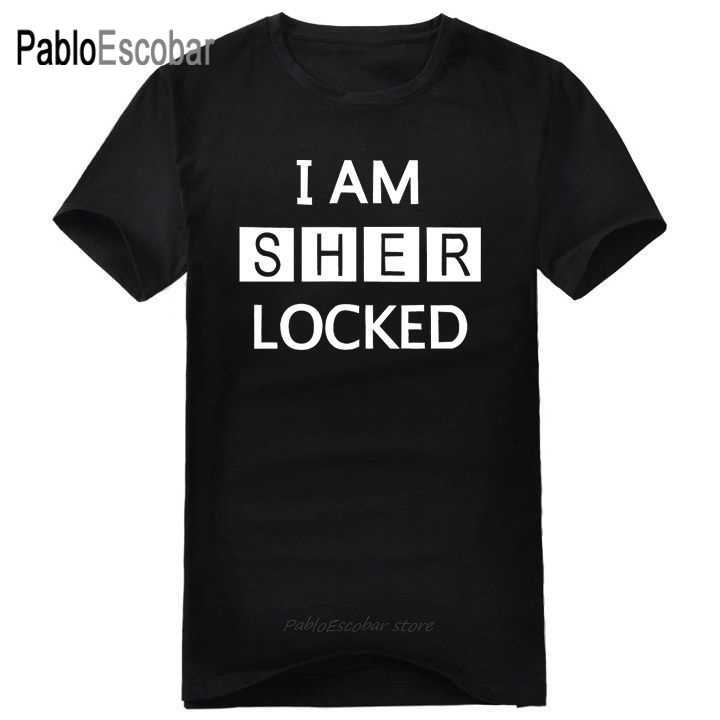 Envío Gratis I Soy SHER' cerrada camiseta SHERLOCK HOLMES T camisa película de TV para mujer para hombre de manga corta de cuello redondo plus de talla grande