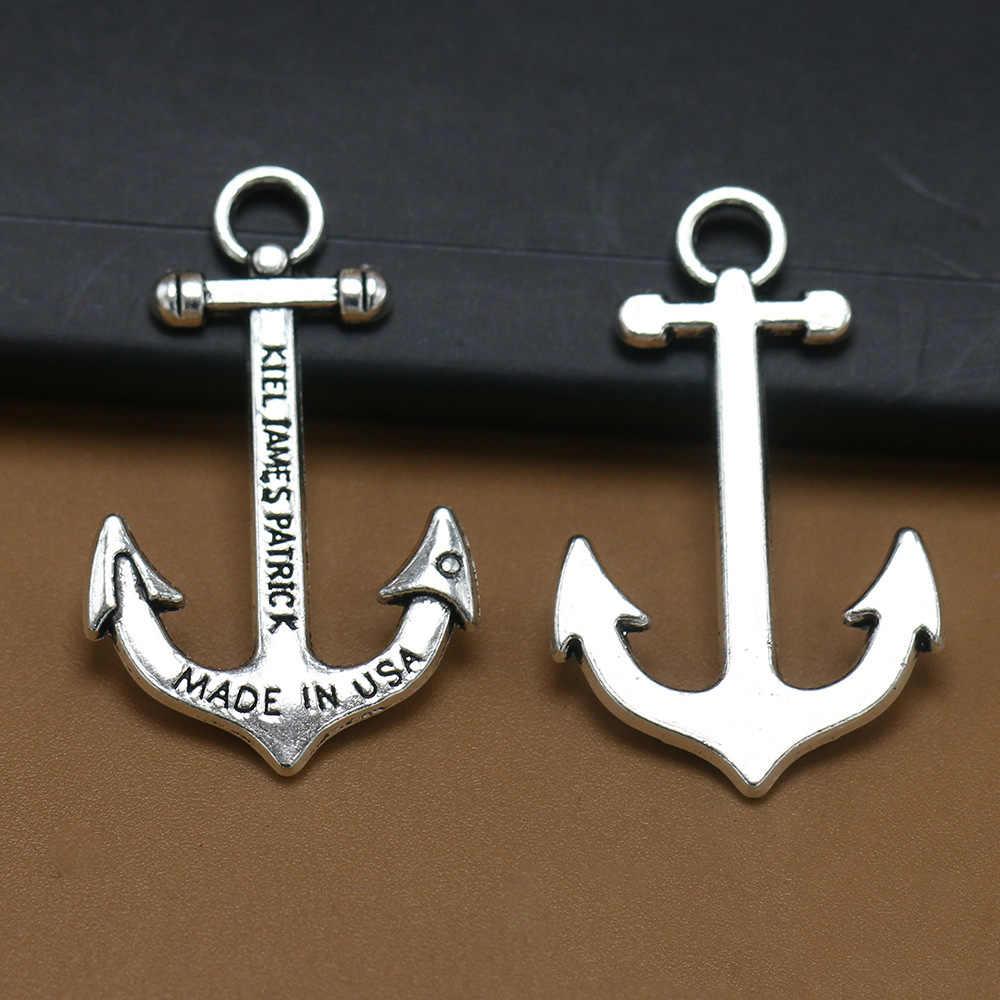 ANGRLY 10pcs 36*23 มม.มีตะขอโลหะโบราณเงินตัวอักษร Bronze Anchor จี้เรือโจรสลัดตกแต่งหัตถกรรม