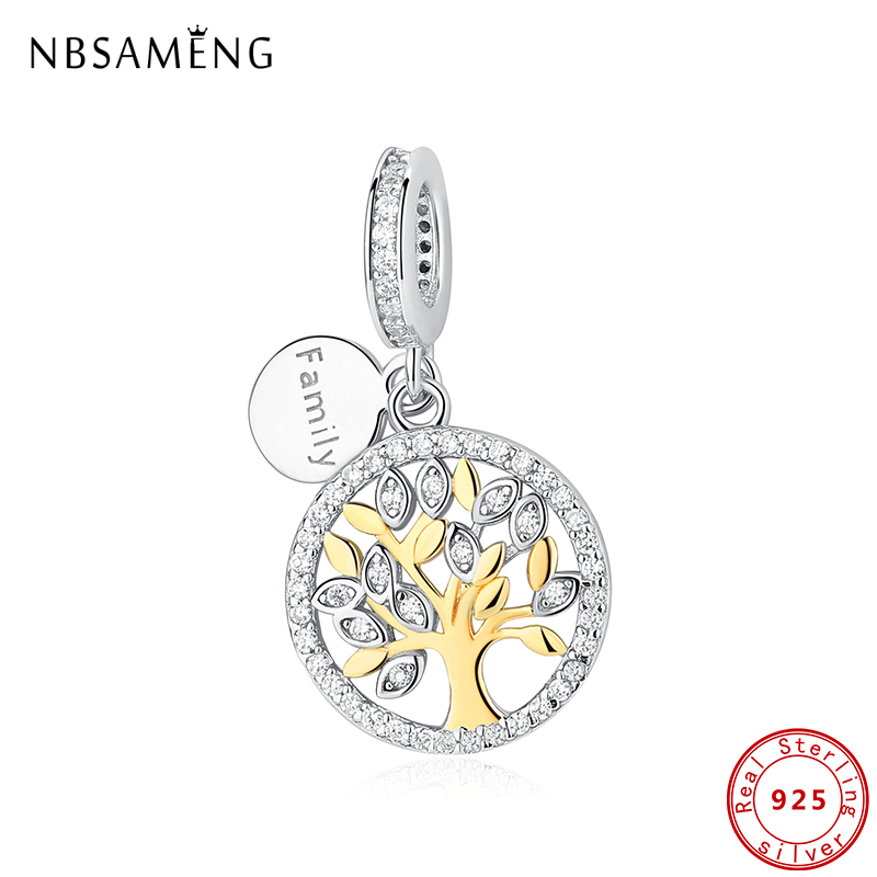 100% Original CZ 925 Sterling Silver Beads Gold Color Charms For Jewelry Making Tree Of Life Fit Bracelet Necklace DIY Women