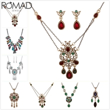 ROMAD Vintage Necklace Women Flower Crystal Retro Gem Stone Pendant Wedding Party Jewelry Girl Boho collar R5