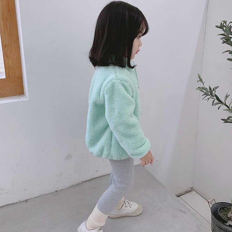 2019 Winter New Girls Plush Warm Coat Fleece Warm Jacket Snowsuit 1-5Y Baby Coat Kid Solid Color Round Neck Outerwear Clothes