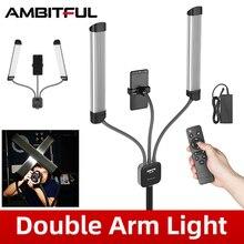 AMBITFUL AL 20 40W 3000K 6000K כפול זרועות למלא LED אור ארוך רצועות LED אור עם LCD מסך עבור תמונה סטודיו שידור חי