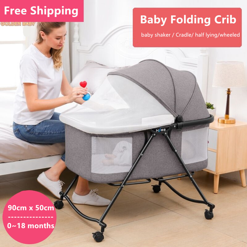 Multi-function Portable Bed For Baby Foldable Crib With Wheels Sun Protection Mosquito Net Breathable Infant Sleeping Cradle
