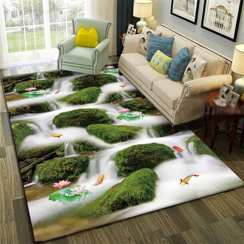 Canapé de salon de paysage naturel, Table à thé, chambre à coucher de tapis, belle chambre, couverture de chevet