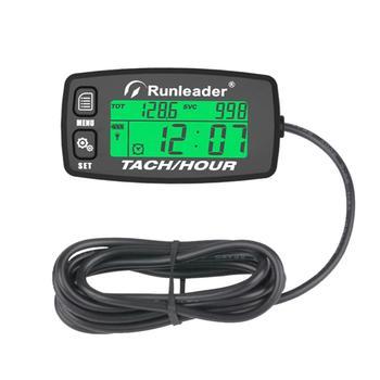Inductive Tachometer Gauge Alert RPM Engine Hour Meter Backlit Resettable Tacho hour meters for Motorcycle ATV  Lawn Mower