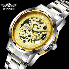 WINNER Official Dress Watches Men Top Brand Luxury Skeleton Mechanical Watch Stainless Steel Strap Fashion Relogio Masculino
