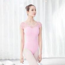 Leotardos gimnásticos clásicos de manga corta para mujer, maillots de baile de encaje, de algodón, para Ballet