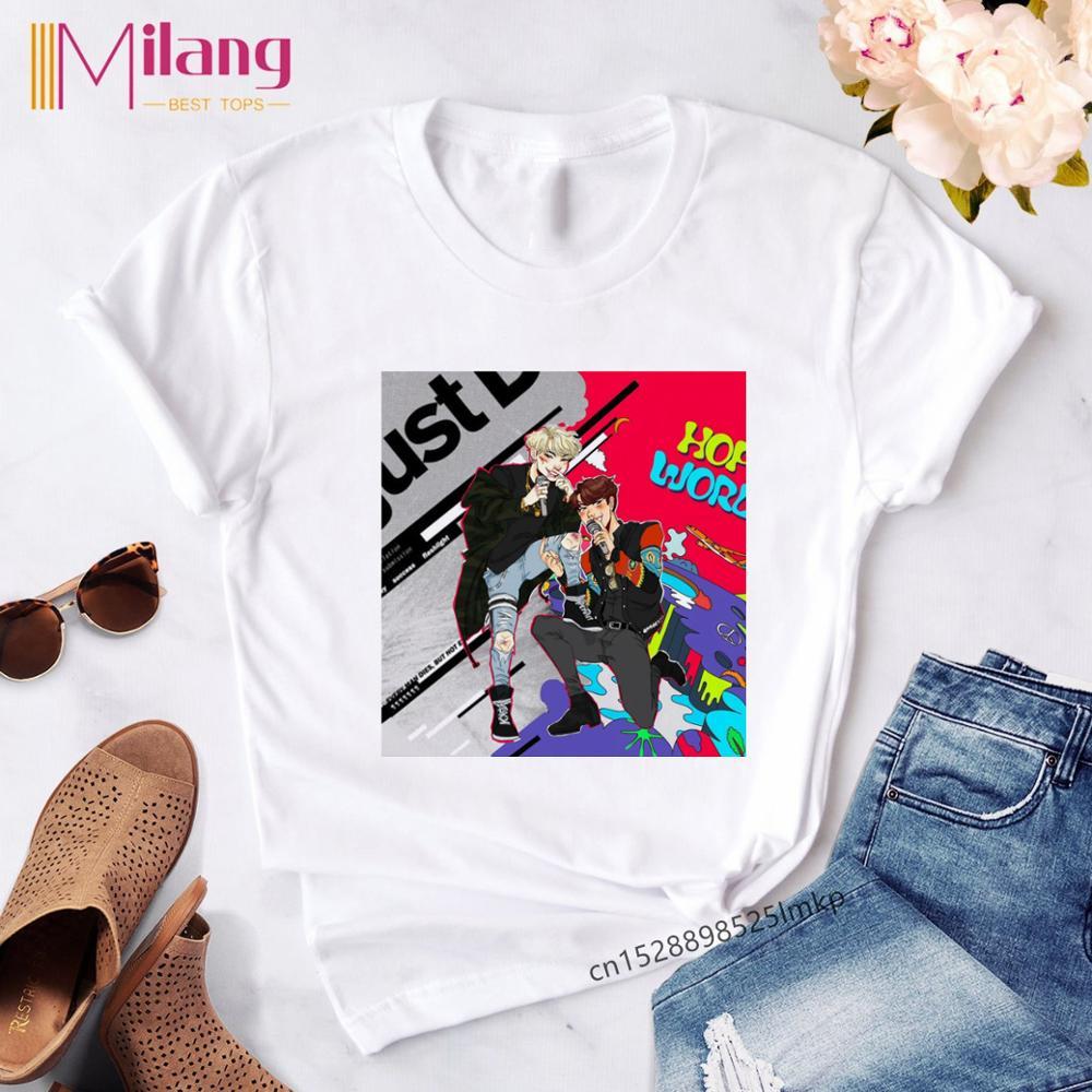 Women's Hope World Kawaii Print T Shirt Women Korean Idol Streetwear T-shirt Female Harajuku Ropa Tshirs Clothe Tee Shirts