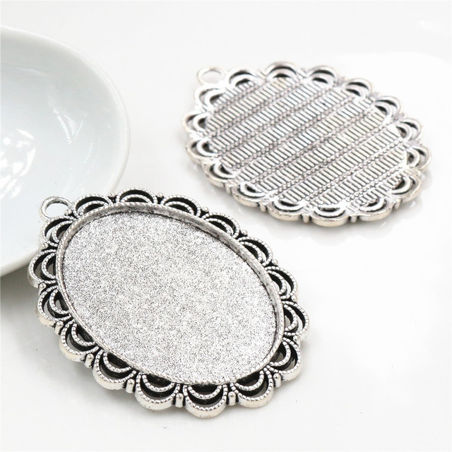 5pcs 30x40mm Inner Size 6 Colors Plated Pierced Flower Style Cabochon Base Setting Charms Pendant