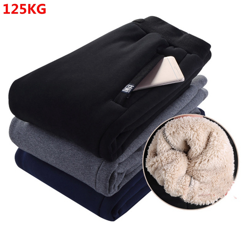 Winter Sports Pants Men Plus Velvet Warm Thick Lambskin Warm Pants Men's Casual Pants 8XL 7XL 6XL 5XL