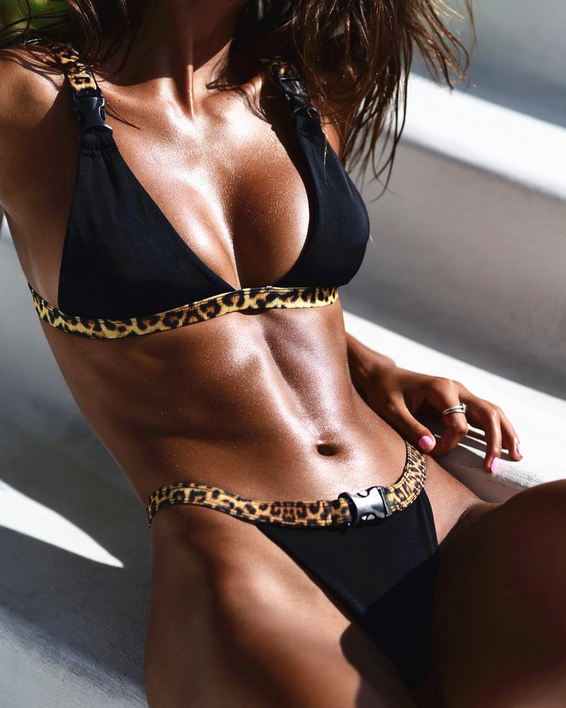 Swimwear Women Bikini-Set Thong Leopard Push-Up Biquini Female Sexy High-Cut Mini Micro