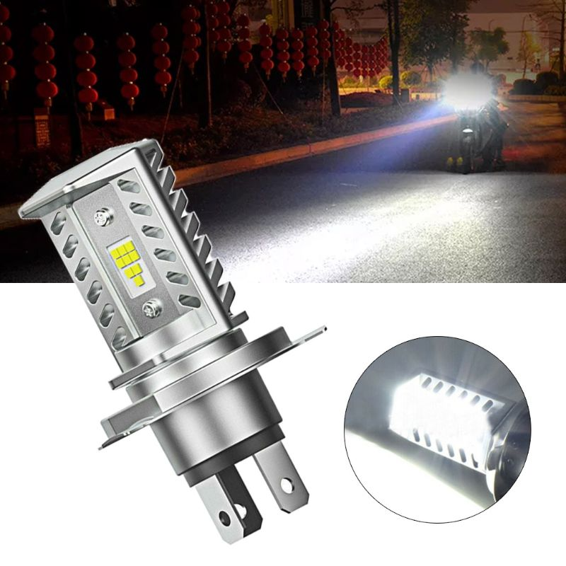 H4 15W CSP 9SMD LED Motorcycle Headlight Bulb HID Hi/Low Beam 1600LM High Power