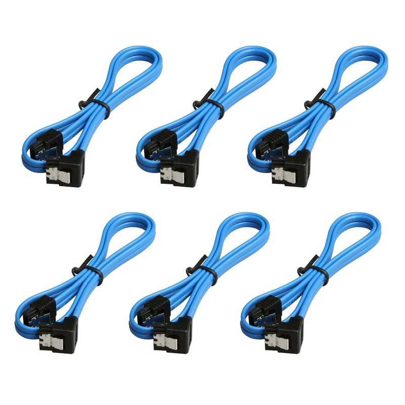 Paquete de 6 cables SATA III de ángulo recto de 90 grados de 6,0 Gbps con pestillo de bloqueo de 18 pulgadas para SATA I SATA II(6X Cable Sata azul)