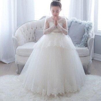Lace Long Sleeve Flower Girls Dresses 2020 Scoop Ball Gown Princess Little Girls Wedding Party Dress First Communion Gowns