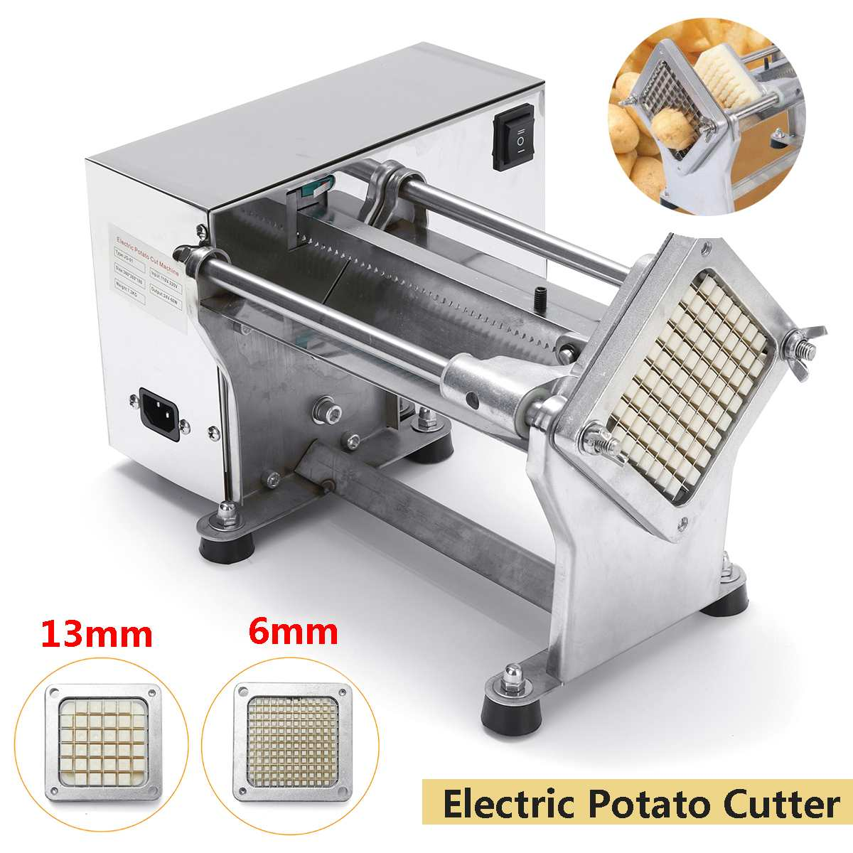 New 220V Commercial Electric French Fry Cutters Electric Potato Chip Cutter French Fries Cutting Slicer Stainless Steel Machine