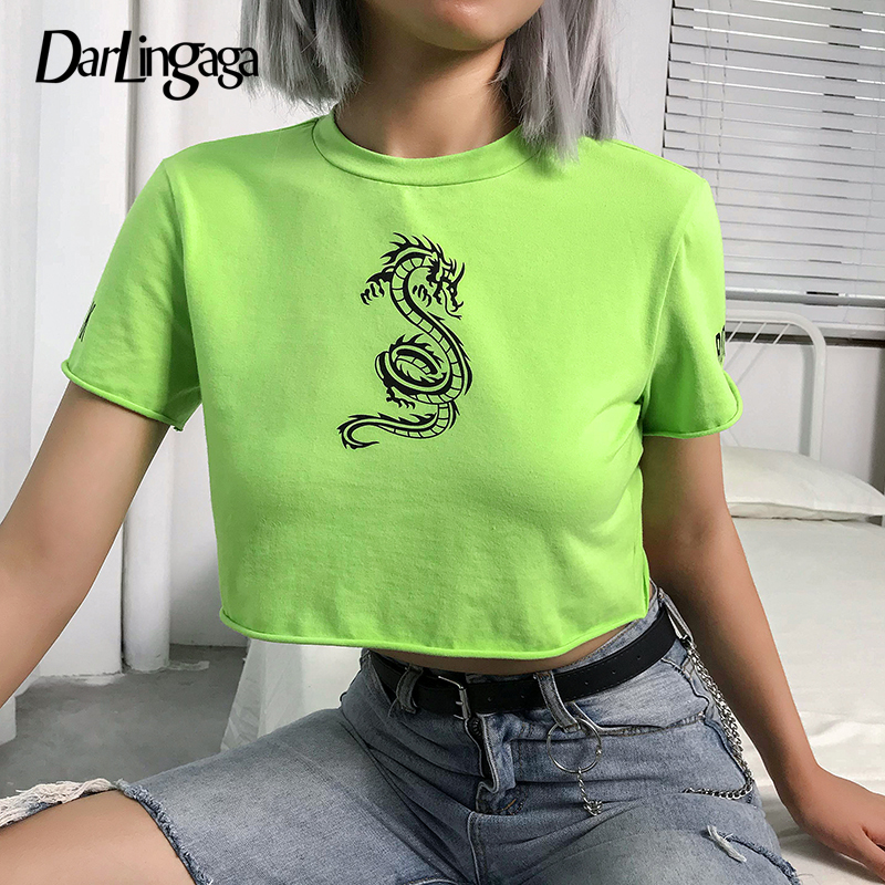 Darlingaga Streetwear Neon Green Dragon Print Summer T-shirt Women Short Sleeve Casual Crop Top Tshirt Tee Shirt Femme Clothes
