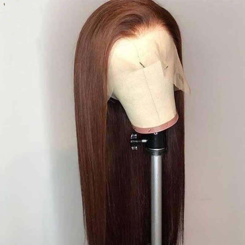 Bombshell темно-коричневый прямой синтетический 13*3 дюймов парик фронта шнурка термостойкие волокна волос свободный пробор для белых женщин парики