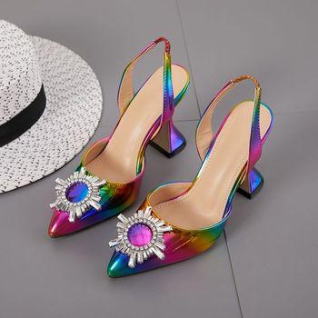 2020 Rainbow Color Women Sandals Pointed Toe Sun Style Rhinestone High Heels Weeding Shoes Spike Heel Slingback Pumps women s girls denim jeans blue ripped low heels slippers cloth kitten heel shoes pumps slingback