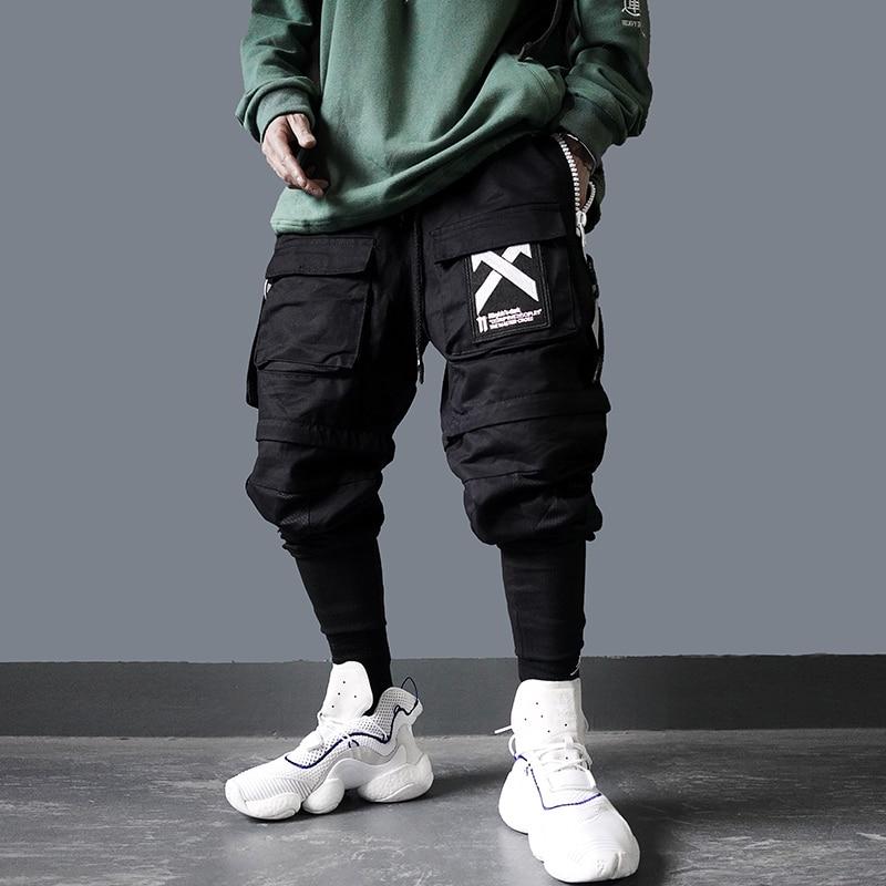 US Size Cargo Pants Men Hip Hop Tactics Joggers Trousers Elastic Waist Fahsion Harajuku Streetwear Camouflage Pant Male DG74