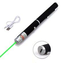 Зеленая красная USB мощная мини лазерная шариковая ручка 201 5MW 532nm распределительный кабель 500-1000m Лазерный диапазон
