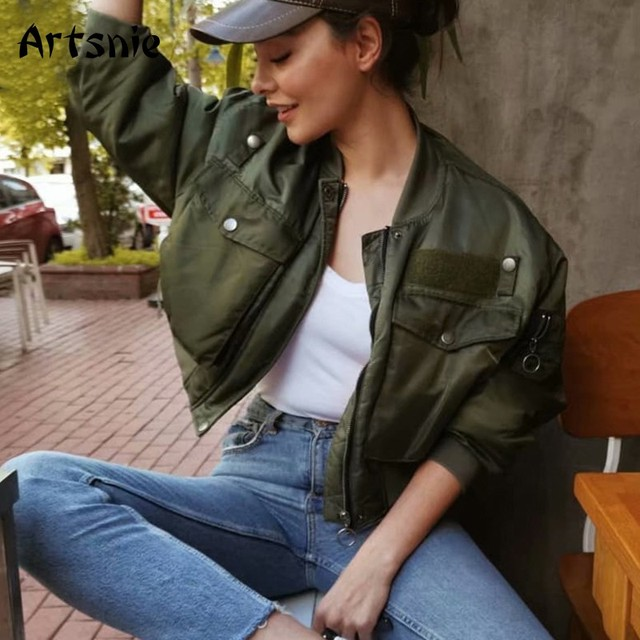 Artnie-blouson chaud Bomber pour Femme, poches vert armée et fermeture éclair, automne-hiver 2020 2