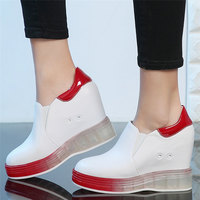 Vulcanized Shoes Women Genuine Leather Platform Wedge High Heel Sneakers Girls Travel Shoes Female Walking Trainers Casual Shoes