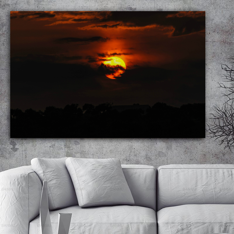 Landscape Art Silhouette Dusk Cloud Modern Canvas Painting Printed on Wall Pictures for Living Room Cuadros No Frame