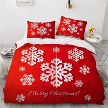 3D Marry Christmas Bedding Set Red Duvet Cover Sets Bed Linen Xmas Comforter Case King Queen Single Twin Size Snowflake Design(China)