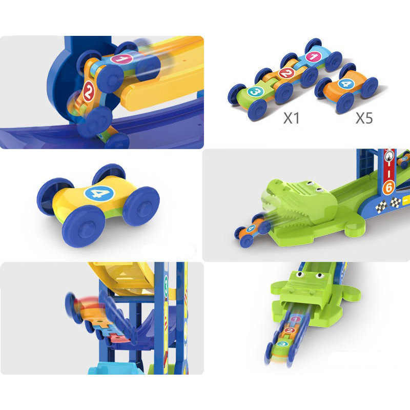 منحدر سباق المسار و 6 سيارة صغيرة الجمود انزلاق لعبة سيارة وتدريب طفل رضيع محرك مهارة تطوير الاطفال هدية