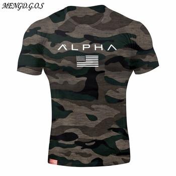 Fitness camouflage T-shirt 2019 summer brand men's T-shirt cotton round neck short-sleeved pullover bodybuilding sports shirt цена 2017