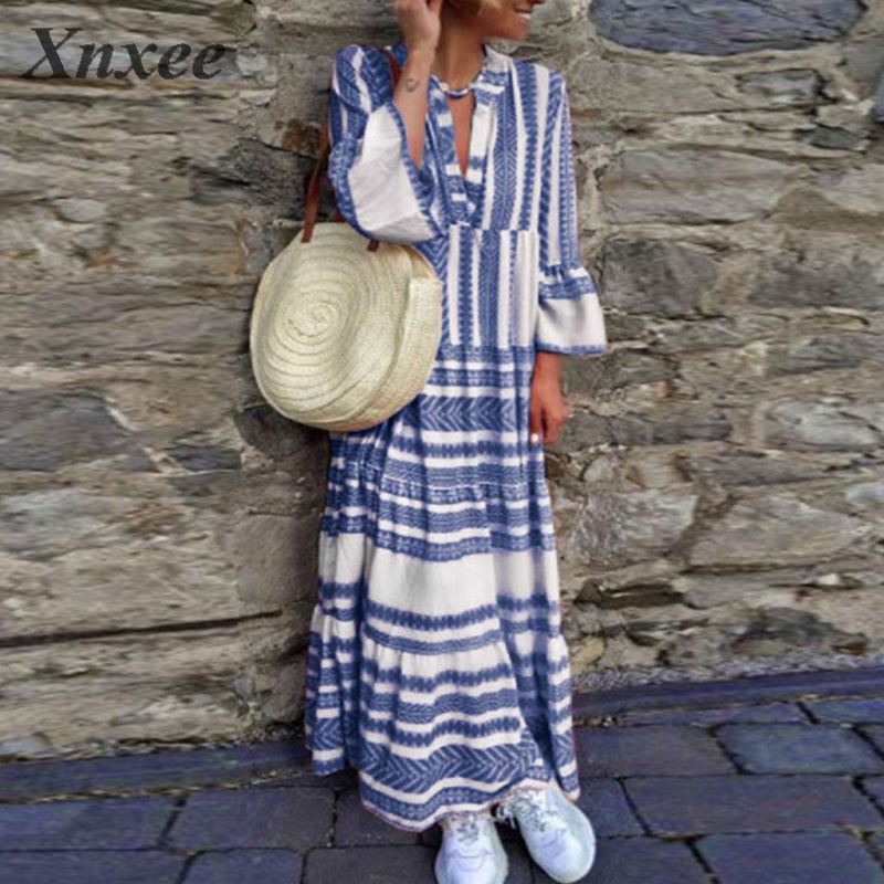 Printed Striped Fringe V-neck Loose Casual Dress 2020 Summer New Retro Women's Vacation Dress Large Size