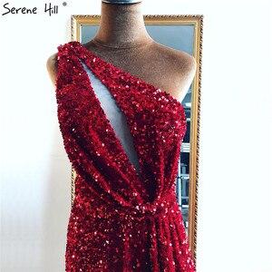 Image 5 - دبي أحمر كتف واحد مثير فساتين سهرة 2020 حورية البحر الخرز الترتر فستان رسمي فاخر Serene Hill LA70297