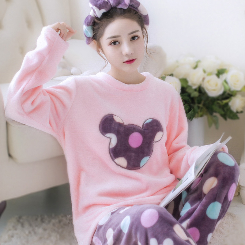 Women Cute Cartoon Coral Pajamas Set Long Sleeve Shirt &Pant Sleep Set Winter Flannel Sleepwear Girl 2PCS Pijamas Suit Nightgown