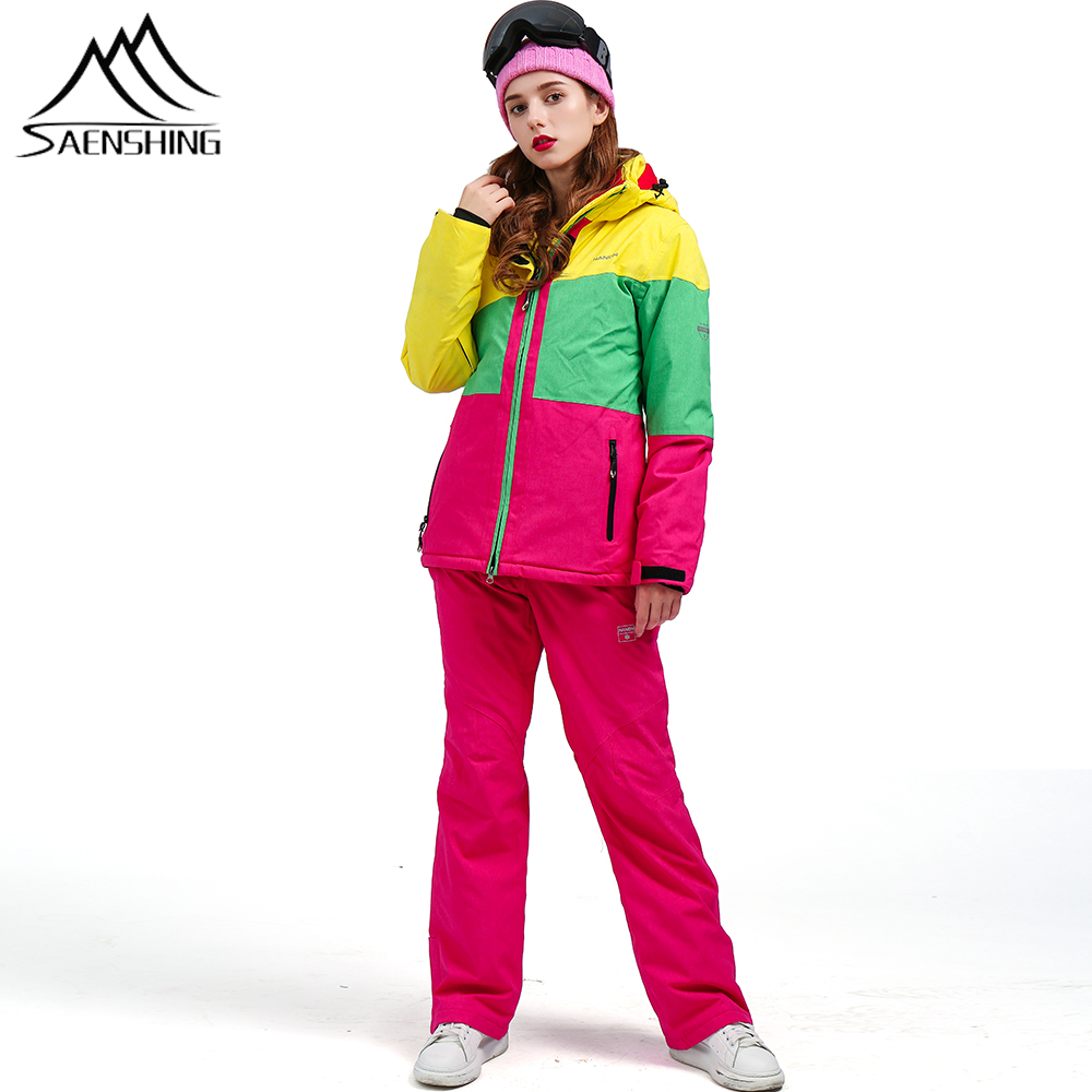 SAENSHING Winter Ski Suit Women Waterproof Female Ski Jacket Snowboard Pant Thermal Breathable Cheap Outdoor Mountain Skiing Set