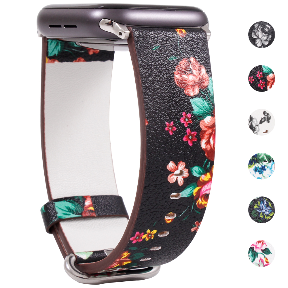 Band For Apple Watch 5 4 3 2 1 38MM/40MM/42MM/44MM,Floral Paragraph Leather Replacement Strap For Apple Watch Series 5