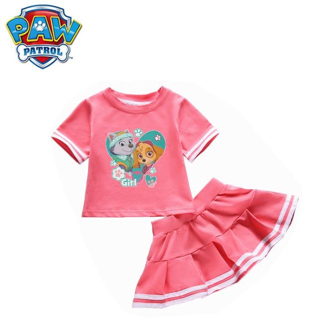 Genuine Paw Patrol Girls Baby Clothing Childrens Wear Summer Cotton Two Piece Round Neck Skirt T Shirt Set