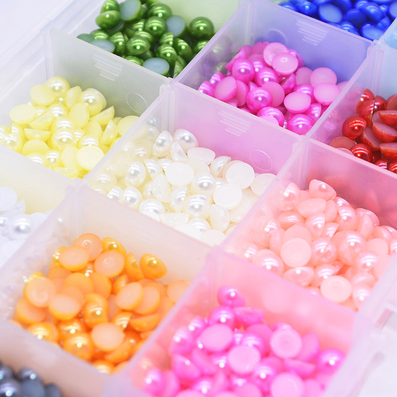 200Pcs 6mm Half Pearl Plastic Bead Flat Back Scrapbook for Craft NO Hole DIY