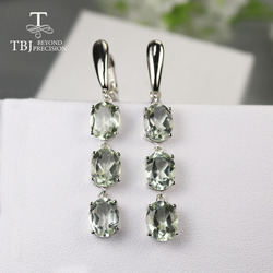 10 ct green amethyst Long clasp earring ,natural brazil gemstone earring 925 sterling silver fine jewelry for lady daily wear