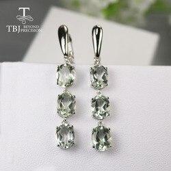 Tbj, 7.5ct Natuurlijke Groene Amethist Sluiting Earring, lange Edelsteen Oorbel 925 Sterling Zilveren Sieraden Voor Meisjes Vrouwen Romantische Gift