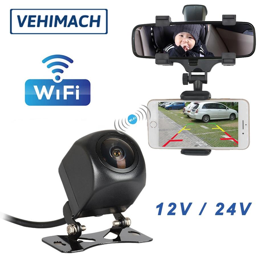 1080P Wifi kamera parkowania wodoodporna z uchwytem na telefon samochodowy 12V 24V 170 ° cofania obiektyw z tyłu HD dodatkowa samochodowa Monitor widok z tyłu