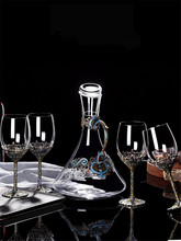Retro Lead free crystal glasses Europe Goblet Enamel Wine glasses Wedding glasses Creative Bar Party Home decoration accessories 200ml hot sale creative home decoration 3d resin skull shape stainless steel wine goblet