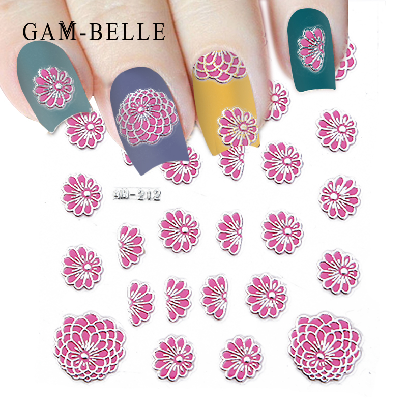 GAM-BELLE 5D Embossed Nail Sticker Decals Blooming Flower Acrylic Engraved 3D Slider Manicure Empaistic Nail Art Decoration Tips