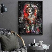 Kolorowy lew Graffiti na płótnie malarstwo abstrakcyjnym zwierzęciem plakaty i wydruki artystyczne Cuadros dekoracyjne obrazy na wystrój domu
