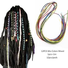 12pcs/pack Hip Hop Colorful Viking rasta Box Braids hair Ties dread dreadlock Strings for hair Women Girl accessories(China)