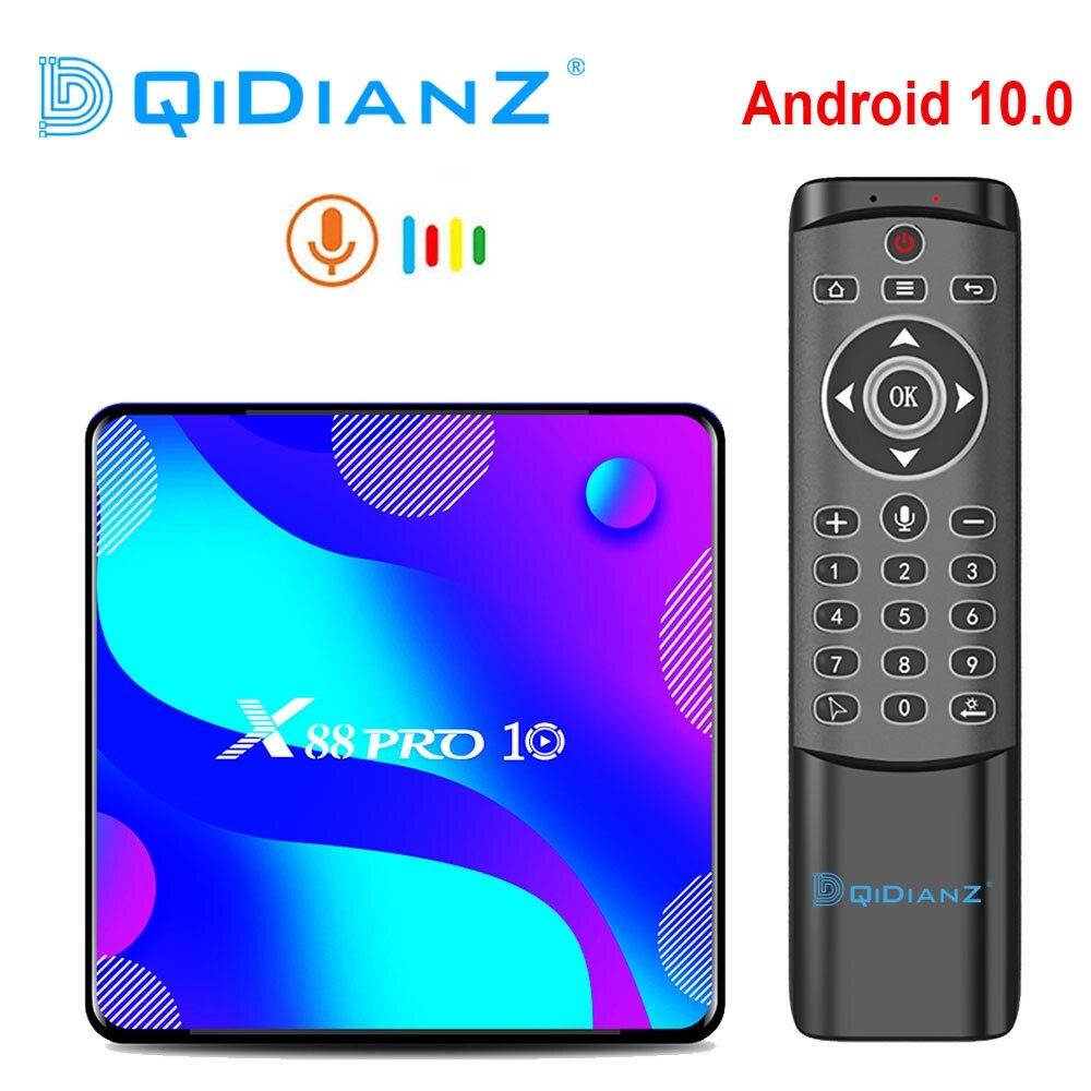 X88 PRO 10 Android 10,0 Смарт ТВ коробка X88 PRO10 4K медиаплеер двойной Wifi телеприставка RK3318 четырехъядерный Google голосовой помощник