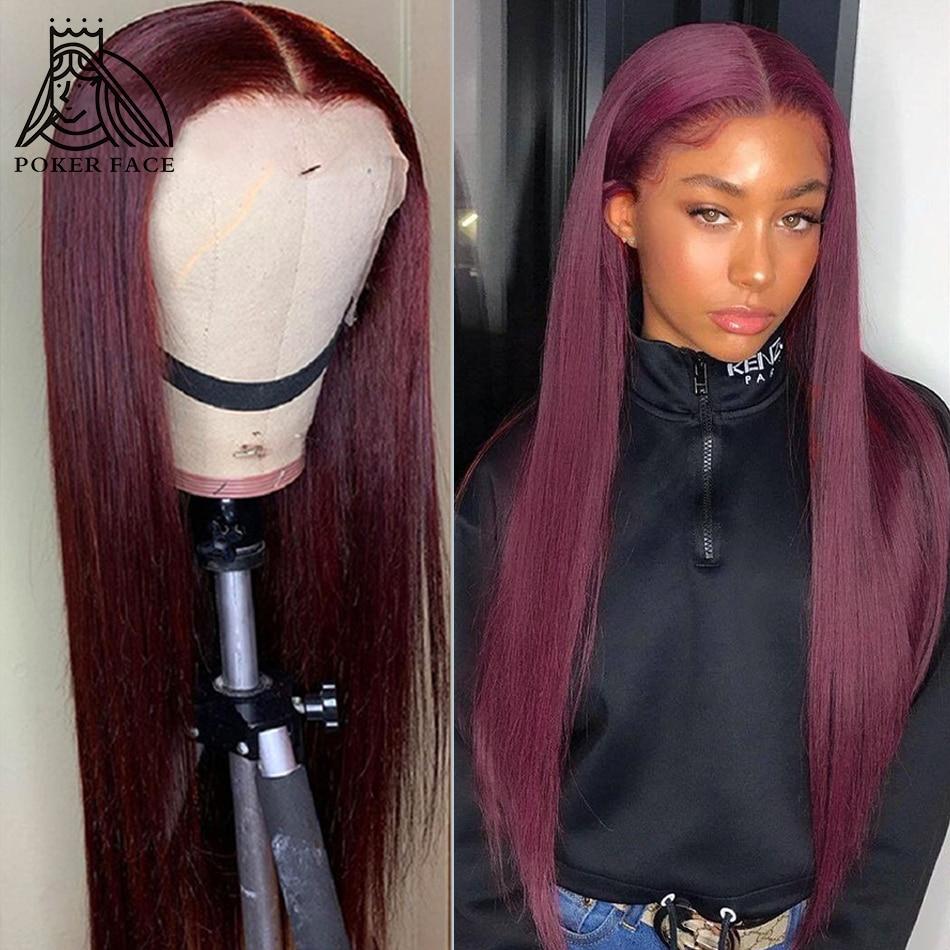 В стиле «Poker Face 10 28 дюймов прямые волосы 13X1 часть кружево парики из натуральных волос на кружевной Цветной 99j бордовый фронтальной парик браз...