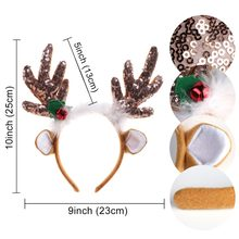 Merry Christmas Headband Ornaments Double Hair Band Clasp Sequin Feather Reindeer Antler Headband Xmas Novelty Headwear Party(China)