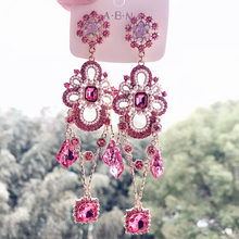 Mwsonya coreano exagerado elegante flor brincos de cristal para mulheres longo pérola praça borla gota meninas brincos festa jóias